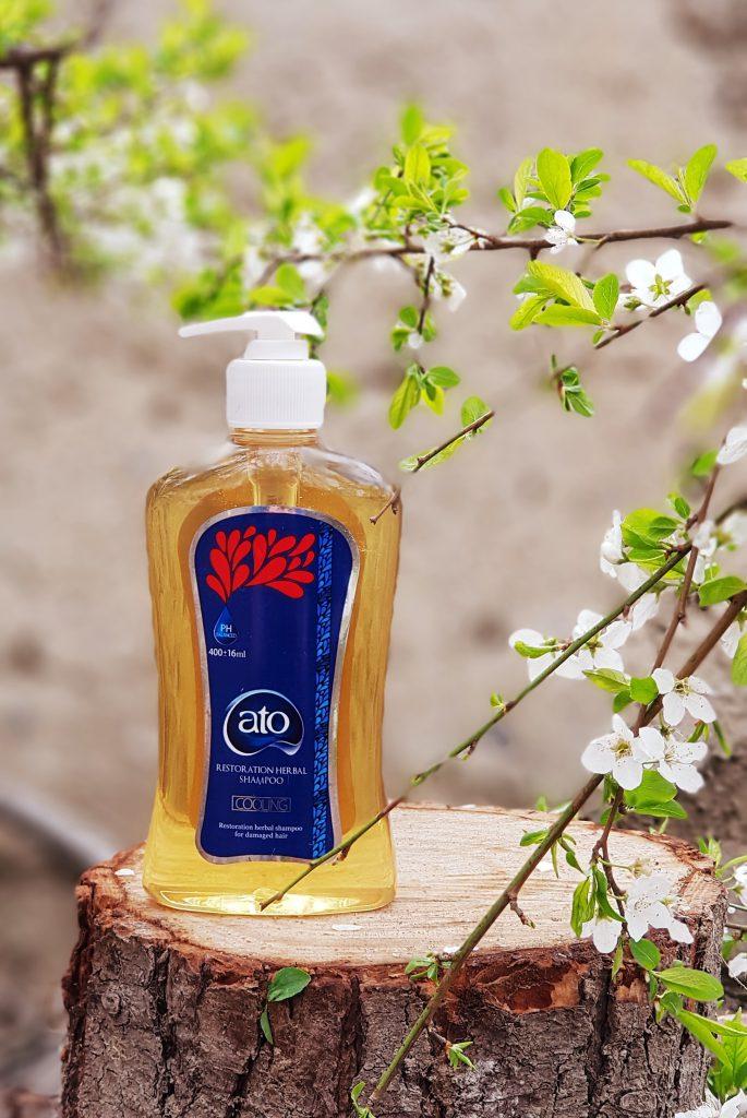شامپو گیاهی و تخصصی آتو مخصوص موهای آسیب دیده و رنگ شده جهت ترمیم بافت موهای دمیج شده و دکلره و خشک