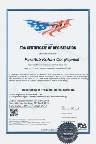 Parsi Teb Company FDA Certification Registration